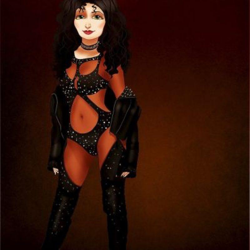 """""""Gothel"""", de """"Enredados"""", disfrazada como Cher Foto:Isaiah Stephens vía Facebook"""