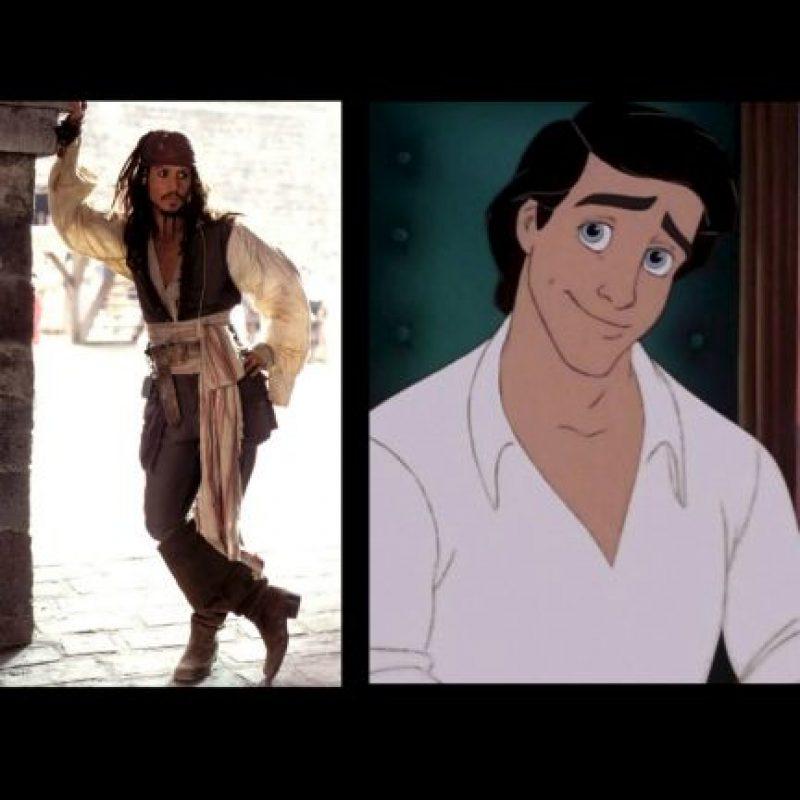 """Jack Sparrow"", de ""Piratas del Caribe"" + ""Príncipe Eric"", de ""La Sirenita"" Foto:IMDB / IMDB"