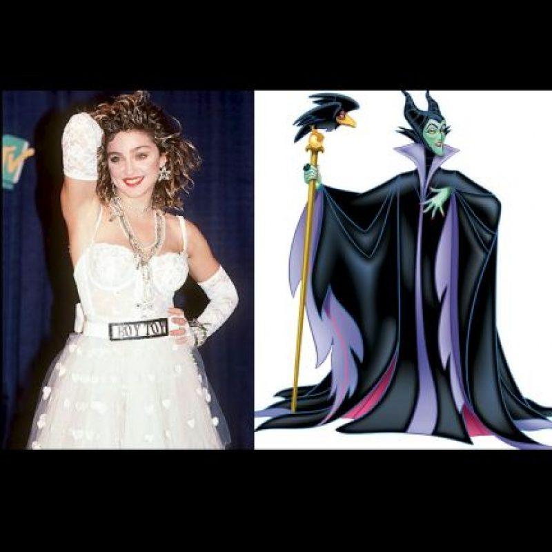 "Madonna + ""Maléfica"", de ""La bella durmiente"" Foto:Wikipedia / IMDB"