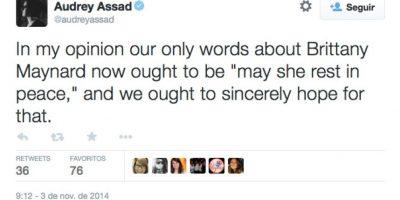 """""""En mi opinión, lo único que tenemos que decir es: 'descanse en paz' y esperamos que así sea"""", comentó la cantante Audrey Assad Foto:Twitter"""