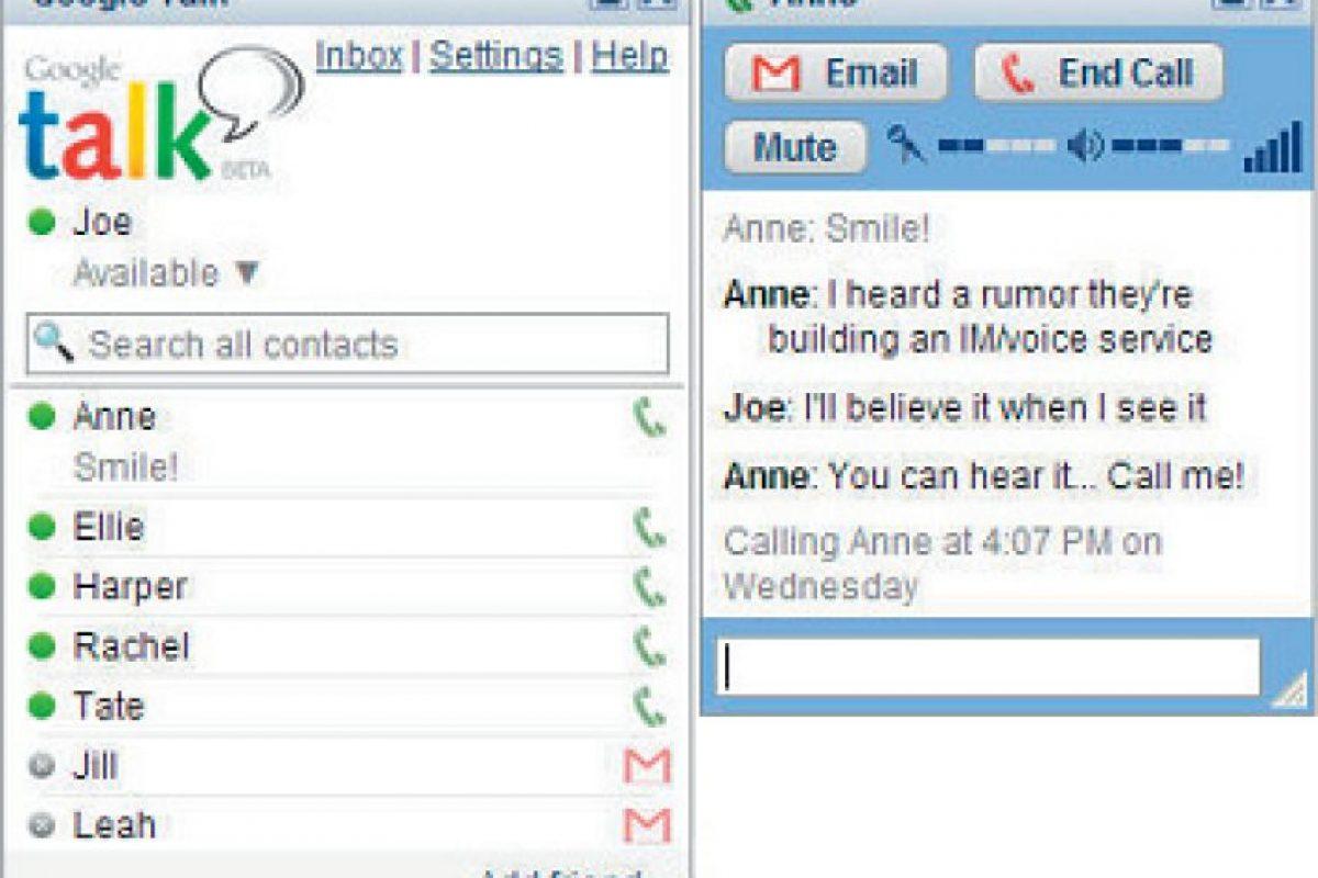 """En 2005, surgió el servicio """"Google Talk"""" para los usuarios de Gmail (servicio de correo electrónico de Google), este software permite los mensajes de texto, llamadas de voz y videoconferencias. Foto:Twiter"""