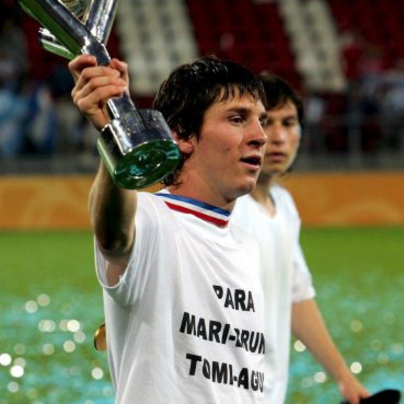 Lionel Messi ganó la Copa del Mundo juvenil en 2005, con 18 años de edad Foto:Getty
