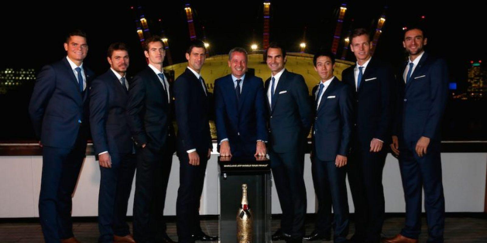 Los ocho grandes del tenis con Chris Kermode, presidente de la ATP. Foto:Getty Images