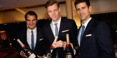 Federer, Berdych y Djokovic a punto de brindar. Foto:Getty Images