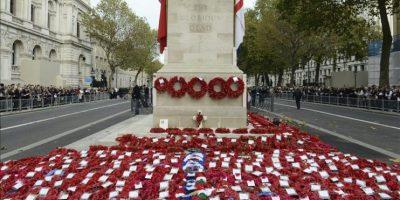 Vista de las coronas de amapolas durante la ceremonia en conmemoración del 96º aniversario del Día del Armisticio del fin de la I Guerra Mundial en el cenotafio en el Whitehall, de Londres, Reino Unido, el 11 de noviembre de 2014. EFE