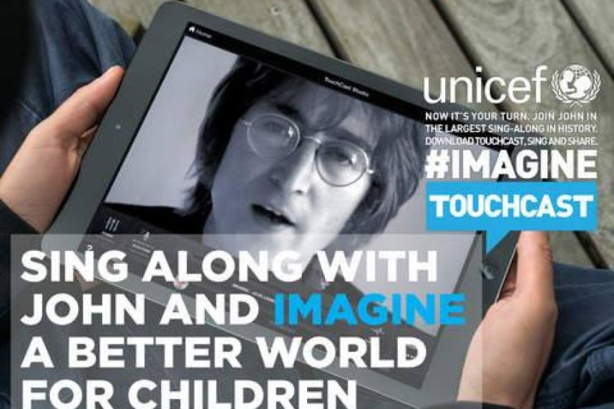 La aplicación disponible en la página oficial de UNICEF les permitira cantar con Lennon y otras 50 celebridades Foto:Facebook: John Lennon