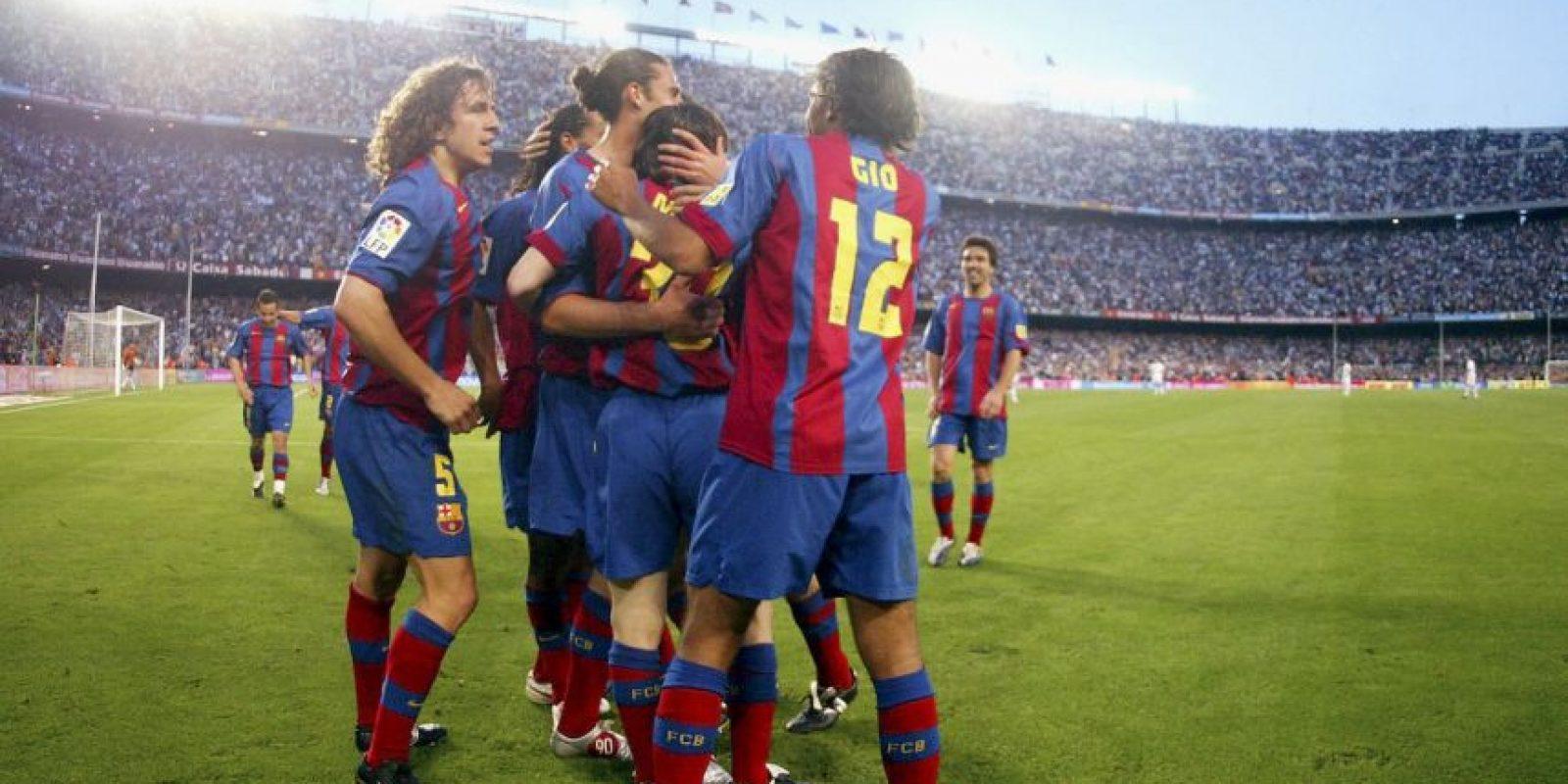 Celebrando el primer gol oficial que anotó con el Barcelona. El 1 de mayo de 2005 ante el Albacete Foto:Getty Images