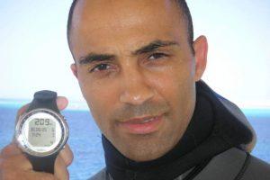 Patrick Musimu poseyó el récord del mundo de submarinismo en no limit (categoría apnea) con una profundidad de 209 m, conseguida en mayo de 2005 en Egipto Foto:www.sportalsub.net