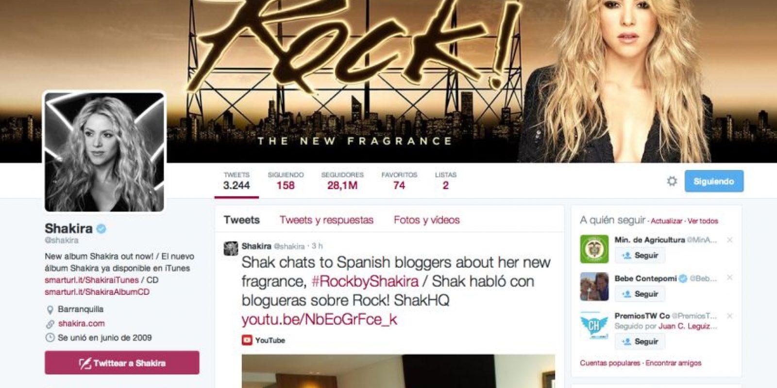 1. Shakira (@Shakira) – 28. 063.715 seguidores Foto:Twitter