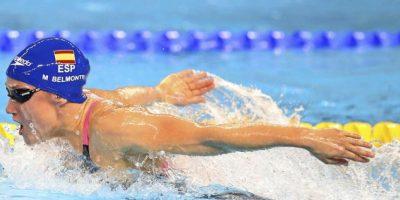 La nadadora Mireia Belmonte García compite en la final de los 200 metros mariposa durante la 12º edición de los Mundiales de natación de piscina corta en el Hamad Aquatic Centre en Doha, Catar. EFE