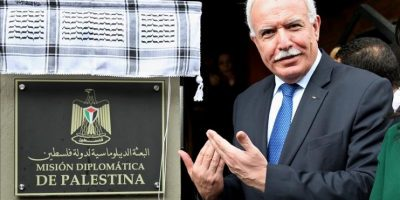 El ministro de Exteriores de la Autoridad Nacional Palestina (ANP), Riad Al Malki, fue registrado este sábado al descubrir una placa de la Misión Diplomática de Palestina en Bogotá (Colombia). Palestina pasó de tener una Misión Especial a una Diplomática en Colombia. EFE