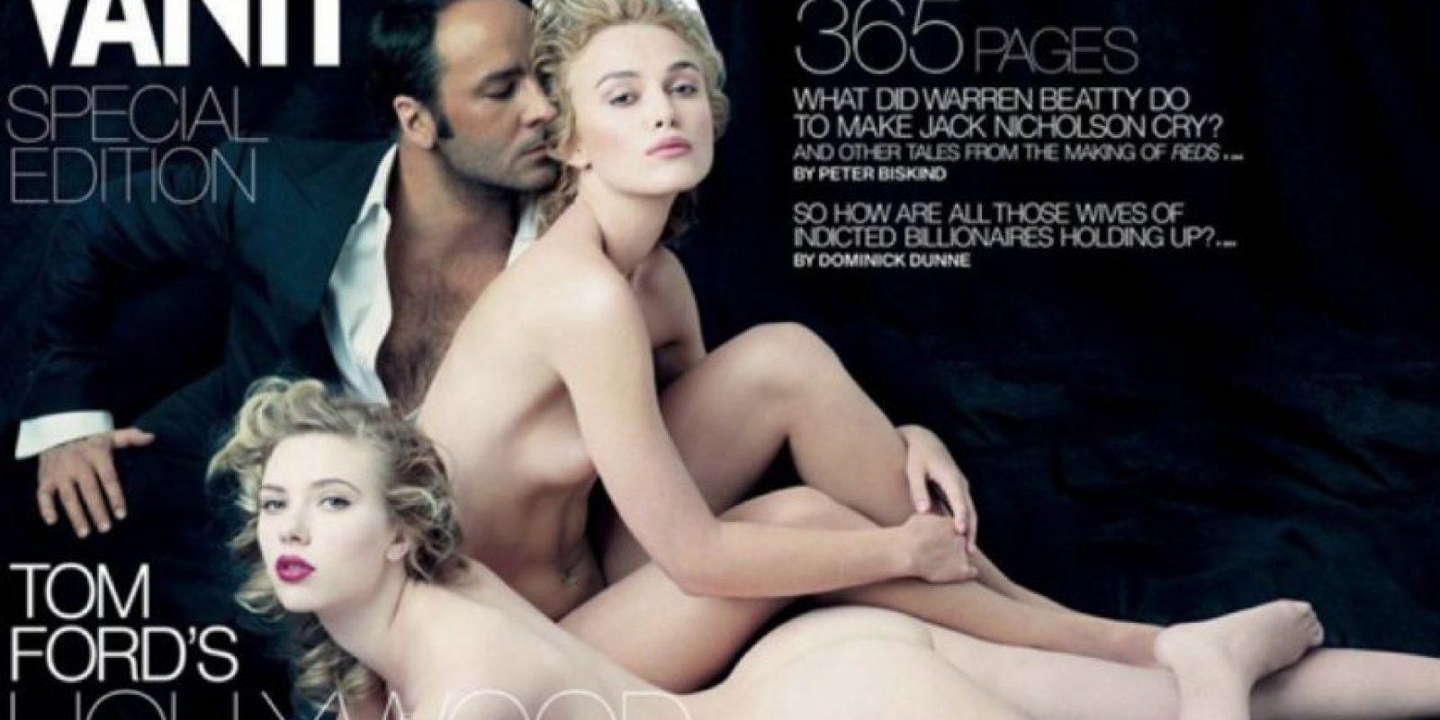 No, moda. Foto de Tom Ford con Keira Knightley y Scarlett Johannson para Vanity Fair. Foto:Vanity Fair.