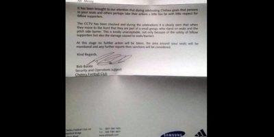 La carta al aficionado donde señala que está expulsado. Foto:twitter.com/AFCAwayDays_