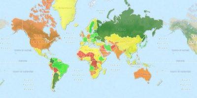 En los países destacados con el color verde se encuentran las mujeres más atractivas. Foto:TargetMap