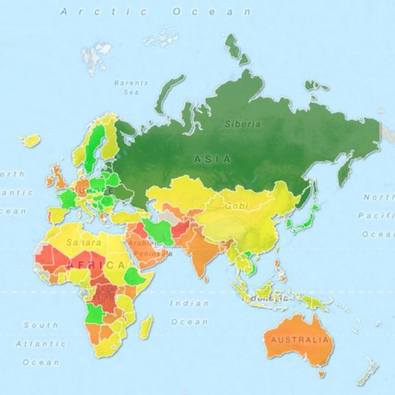 Las mujeres más sexis fueron identificadas con el color verde claro. Foto:TargetMap