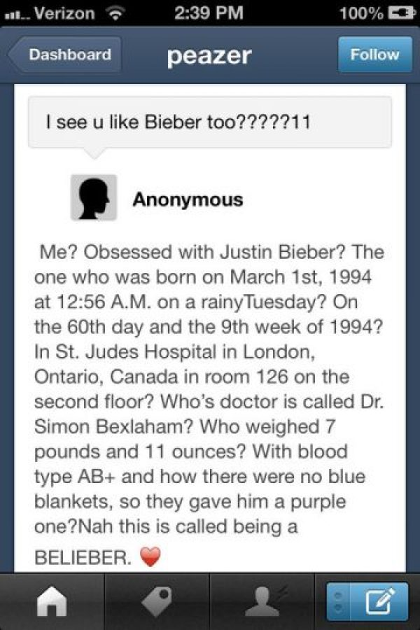 Justin, una orden de alejamiento para esta. Foto:Oddee