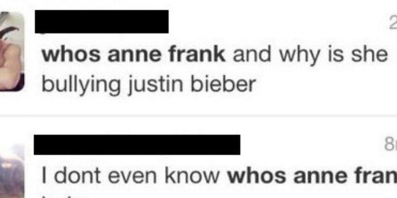Ana Frank revivió de la Segunda Guerra Mundial para molestar a Justin Bieber. Foto:Twitter