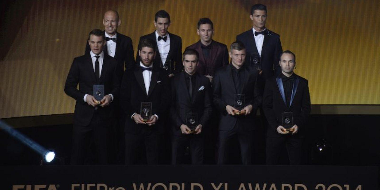 Los futbolistas del once ideal del 2014. Foto:AFP