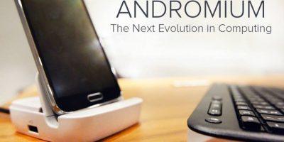 Cuando se conecta a una pantalla de televisión, este puerto de carga del tamaño de la palma, transforma tu teléfono Android en un PC totalmente funcional. Foto:Facebook/Andromium