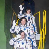 Astronautas: Samantha Cristoforetti, Terry Virts y Anton Shkaplerov, Foto:Getty Images