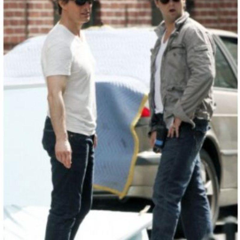 Tom Cruise y su doble en el rodaje de Caballero y Día.