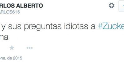 Los tuiteros comenzaron a quejarse con lo que le preguntaba Santos a Zuckerberg. Foto:Twitter