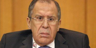 El ministro ruso de Exteriores, Sergei Lavrov, ofrece una rueda de prensa en Moscú (Rusia) hoy. EFE