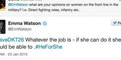 """""""¿Qué opinas de las mujeres en trabajos concebidos para hombres""""? Emma responde: """"Si ella puede hacerlo, es capaz"""" Foto:Emma Watson/Twitter"""