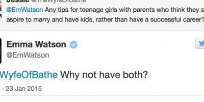 """La tuitera pregunta: """"¿Algún consejo para alguien que tiene padres que piensan que se mejor casarse que tener una carrera?"""" Emma Watson contesta: """"¿Por qué no tener los dos?"""" Foto:Emma Watson/Twitter"""