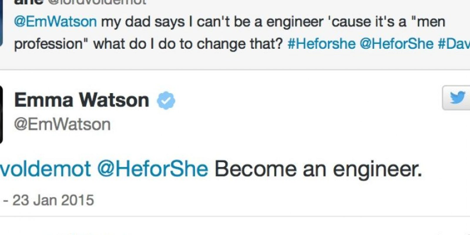 """Emma motivó a una muchacha que quería ser ingeniera pero que tiene un padre machista. La joven le preguntó: """"Mi padre dice que no puedo ser ingeniera porque es para hombres. ¿Qué hago?"""". Emma le dice: Sé una ingeniera. Foto:Emma Watson/Twitter"""