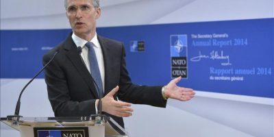 El secretario general de la OTAN, Jens Stoltenberg, da una rueda de prensa en la sede de la OTAN en Bruselas (Bélgica) hoy, viernes 30 de enero de 2015. EFE