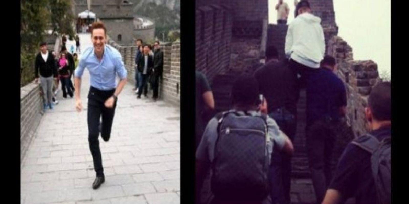 Justin, a tí te cargaron en la Muralla China. Foto:QuickMeme