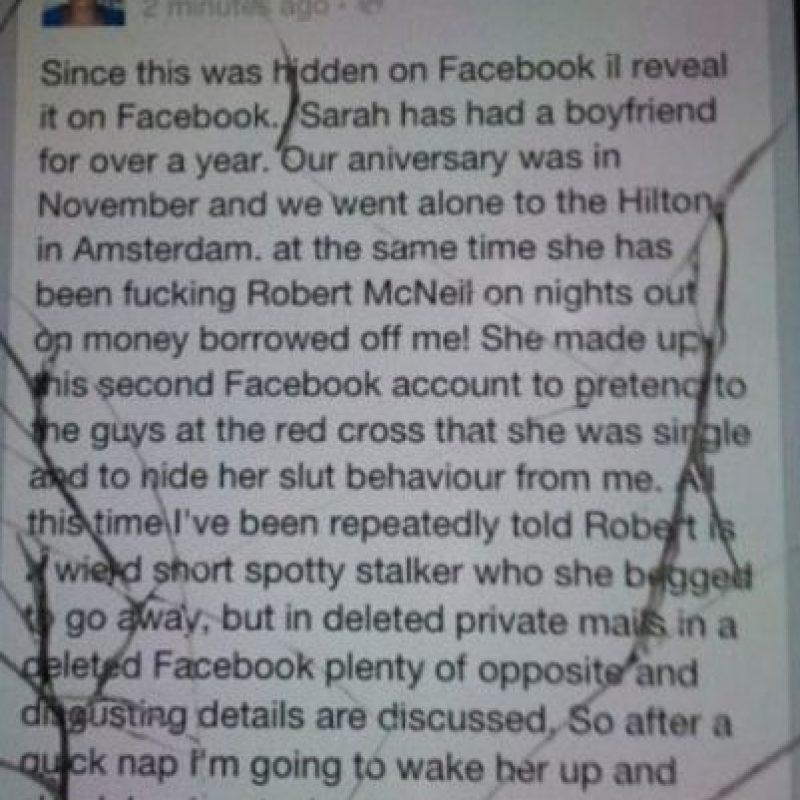 El que hackea el Facebook de su novia. Foto:Twitter