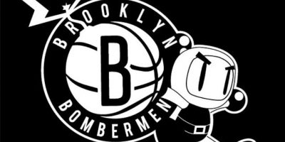"""Bomberman"" en el logo de Brooklyn Nets. Foto:instagram.com/ak47_studios"