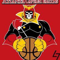 """""""Captain Falcon"""" de """"F-Zero""""en el logo de Atlanta Hawks. Foto:instagram.com/ak47_studios"""