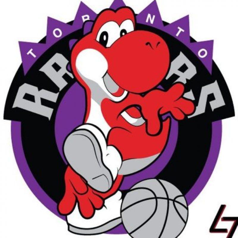 """""""Yoshi"""" de """"Super Mario World"""" en el logo de Toronto Raptors. Foto:instagram.com/ak47_studios"""