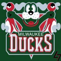 """""""Duck Hunt"""" en el logo de Milwaukee Bucks. Foto:instagram.com/ak47_studios"""