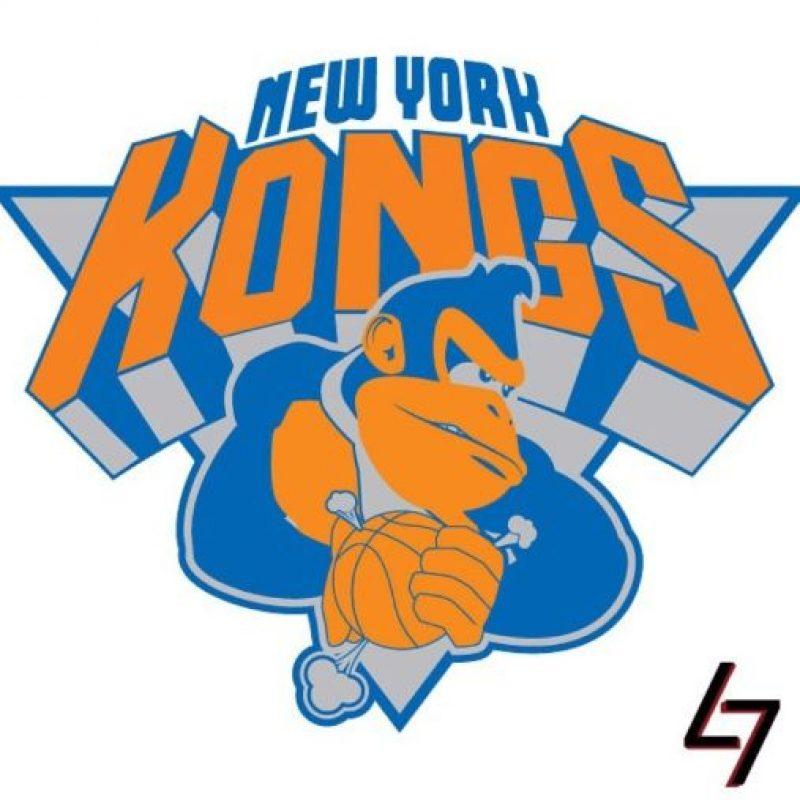 """Donkey Kong"" de ""Donkey Kong Country"" en el logo de New York Knicks. Foto:instagram.com/ak47_studios"