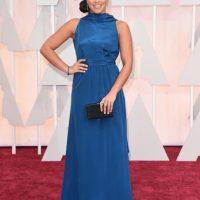 Un detalle más cercano de su vestido. Foto:Getty Images