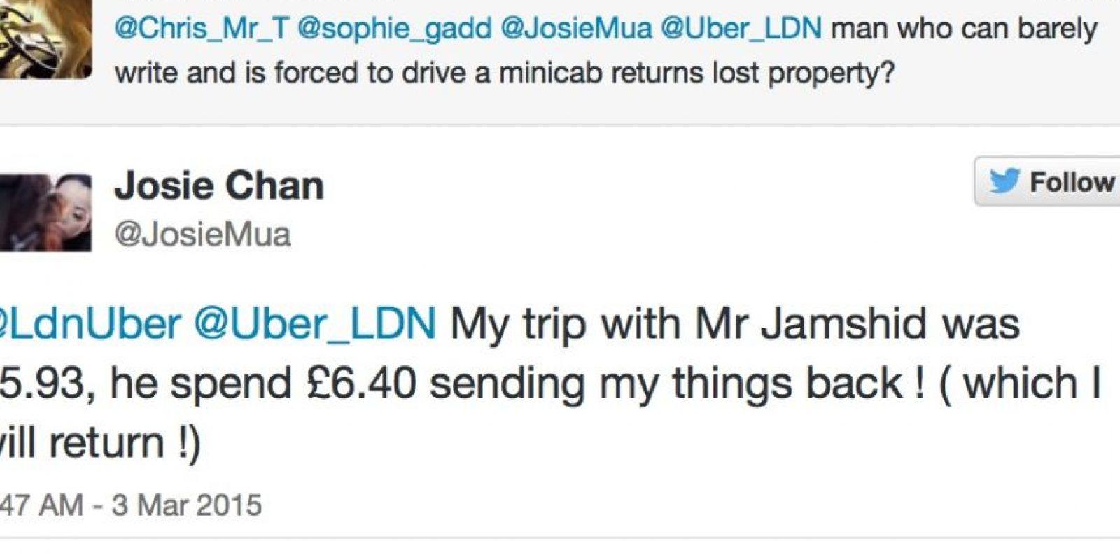 El taxista puso de su propio bolsillo para devolverle las cosas a su pasajera. Foto:Twitter