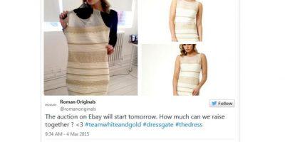 Así se ve el vestido original en blanco y dorado. Foto:Captura de pantalla.