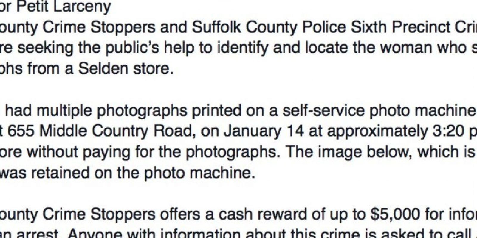 Dejó su selfie como evidencia. Darían hasta 5 mil dólares por la información. Foto:Facebook