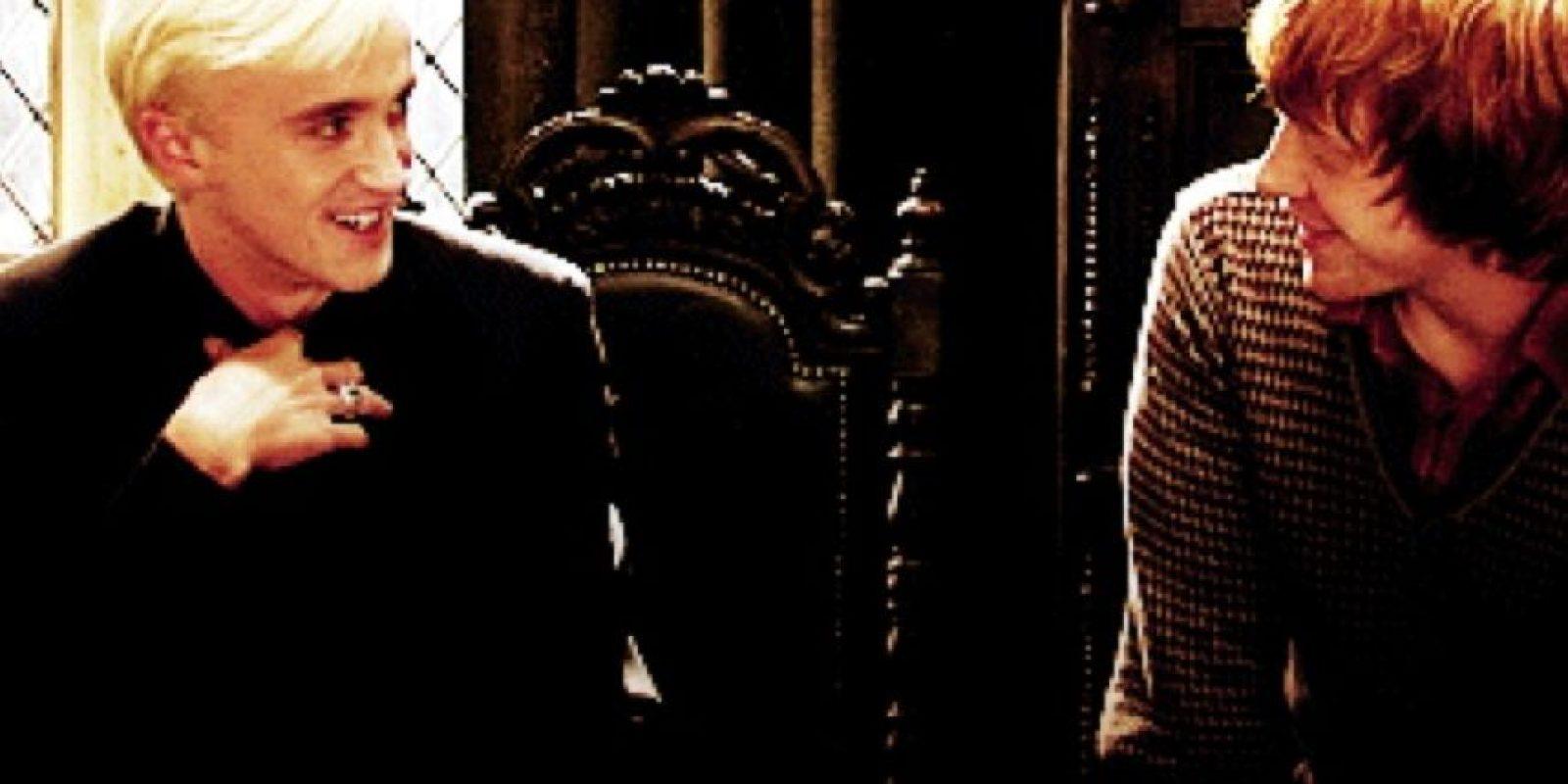 De hecho, Tom Felton y Rupert Grint (Ron Weasley), tienen una buena relación. Foto:Warner