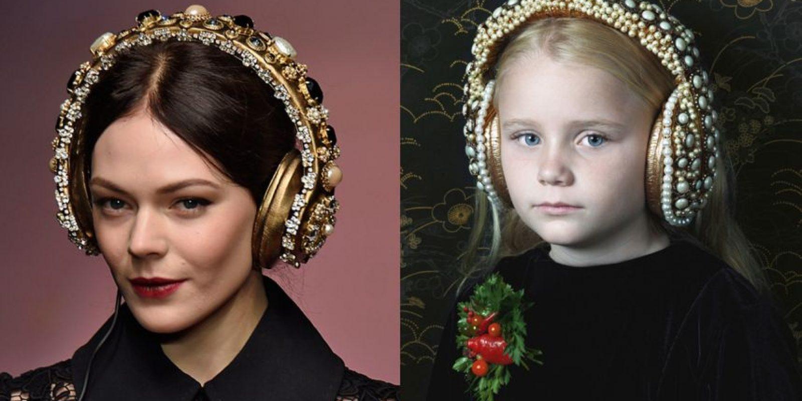 La imagen de la izquierda son los audífonos de la colección de la marca italiana; los de la izquierda son de la artista colombiana, Adriana Duque.