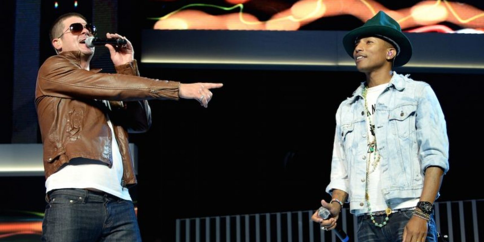 """""""Pharrel y yo estábamos en el estudio y le dije que una de mis canciones favoritas era la de Marvin Gaye """"Got to dive it up"""", deberiamos hacer algo así con ese groove, entonces él empezó a tocar un poco y literalmente escribió la canción en media hora y la grabamos"""", declaró Robin Thicke en septiembre de 2014 Foto:Getty images"""