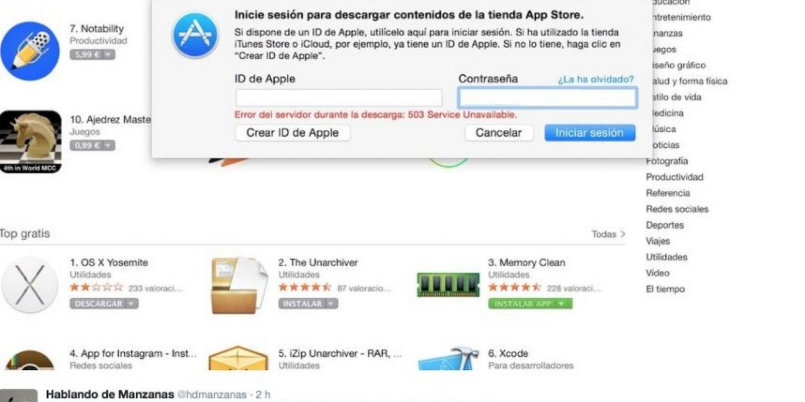 En redes sociales señalan que no pueden loguearse con su cuenta de correo electrónico. Foto:Apple