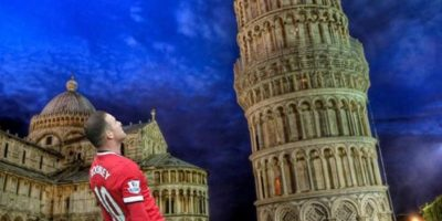 Esquivando la Torre de Pisa. Foto:Twitter