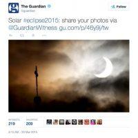 El famoso diario The Guardian pidió registrar las fotos del eclipse por medio de una cuenta de su propiedad. Foto:Twitter @guardian