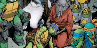 Se trata de Donatello, que muere contra Bebop y Rocoso. Sufre un golpe mortal en el martillo de su caparazón. Foto:Mirage
