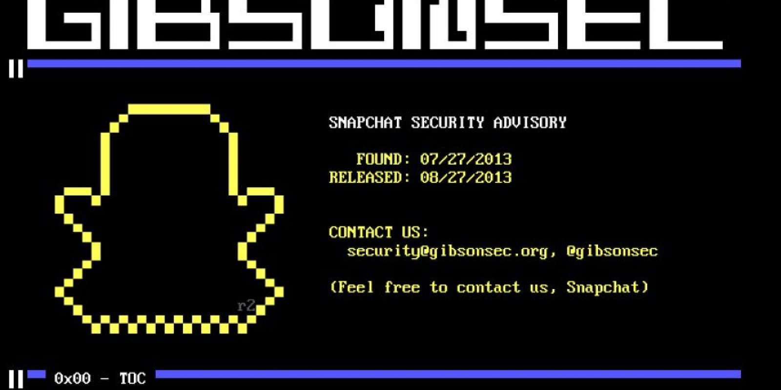 """La empresa Gibsonsec, encargada de la seguridad de la app, publicó en diciembre de 2014 que más de 40 mil cuentas habían sido """"hackeadas"""" y que se trabajaba en los fallos. Foto:gibsonsec.org/snapchat/"""